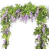 VINFUTUR Guirnalda de Flores Artificiales Wisteria 2m×5pcs, Flores Guirnalda Artificial Vid de Glicina Falsa Colgante Plantas con Hiedra para Decoración Jardín Boda Balcón Exterior Interior