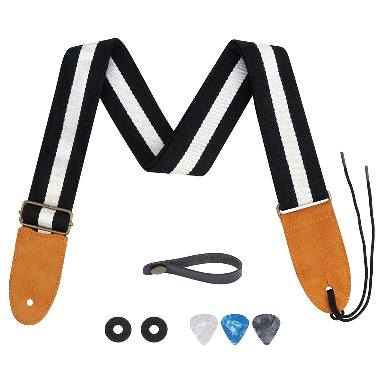 Guitar Strap, 100% Soft Cotton Guitar Straps Top Grade Adjustable Metal Belt Buckle with Microfiber Leather Ends for Bass, Electric & Acoustic Guitar