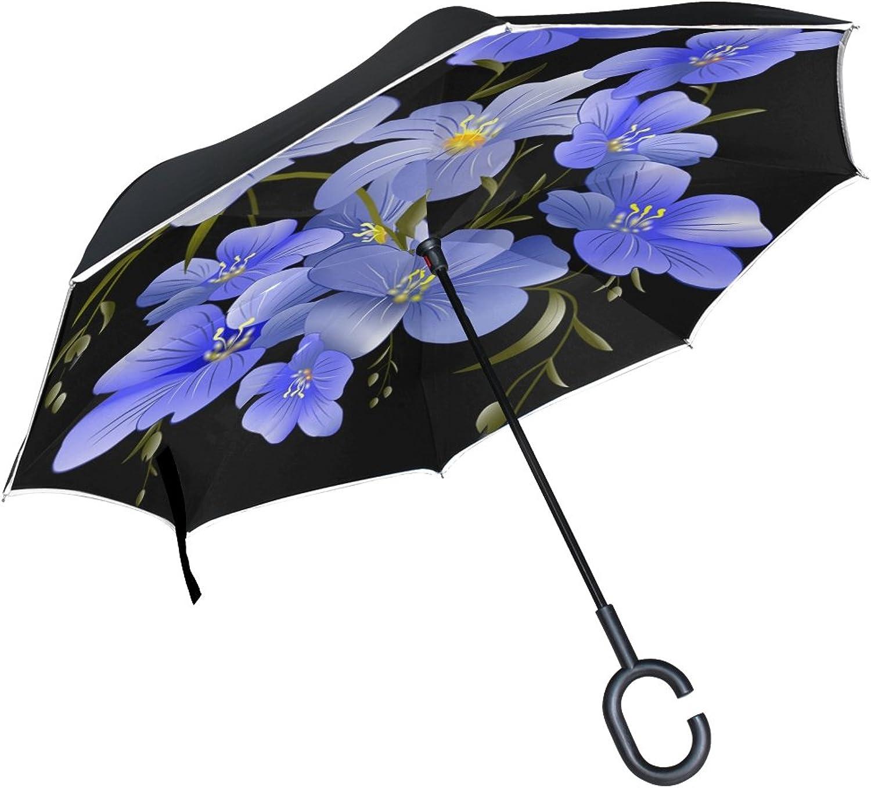Double Layer Ingreened Flower Len Petite blueee Umbrellas Reverse Folding Umbrella Windproof Uv Predection Big Straight Umbrella for Car Rain Outdoor with CShaped Handle