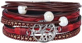 JOYMIAO Albero della Vita Bracciale Intrecciato in Pelle Bracciale Avvolgente Inciso con Perle per Donna e Uomo (Rosso)