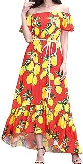 TOPUNDER Hawaiian Long Maxi Dress for Women Strapless Cold Shoulder Short Sleeve Dresses