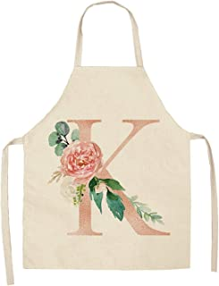 1Pcs Pink Letter Flower Kitchen Aprons for Women Cotton Linen Bibs Household Cleaning Pinafore Home Cooking Apron 5365cm Q0005,K