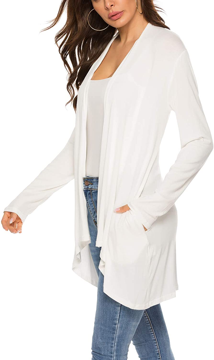 Women's Casual Long Sleeve Open Front Lightweight Drape Cardigans with Pockets