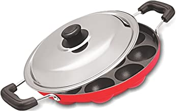 AppamPatra Paniyaram Non Stick Pan with Stainless Steel Lid 12 Cavity,12 Cavity Appam Patra With S.s Lid & 2 Side Handle (Red)