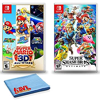 Nintendo Switch Super Mario 3D All-Stars Bundle with Super Smash Bros Ultimate and 6Ave Cleaning Cloth