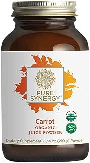 Pure Synergy USDA Organic Carrot Juice Powder (7.4 oz) USA Grown, Non-GMO