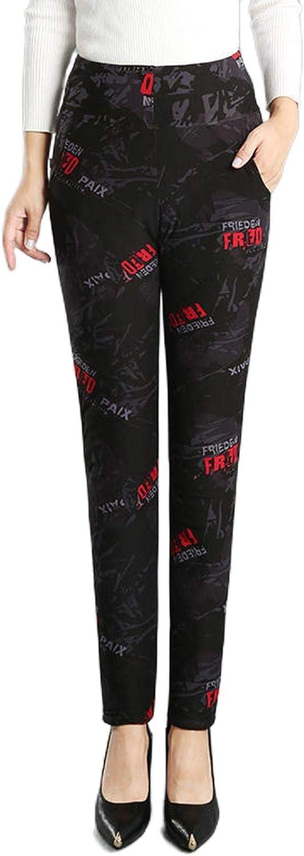 pantalon Femmes 2021 Automne Hiver Nouveau Moyen-Âge Imprimer Pantalon Femme Épais Taille Haute Chaud Dames Mode Lâche Leggings 11