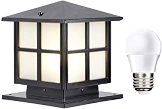 Antique Outdoor Waterproof Pillar Lamp, Vintage Die-Cast Lawn Column Lamp Landscape Garden Lighting Fitting E27 Balcony Ai...