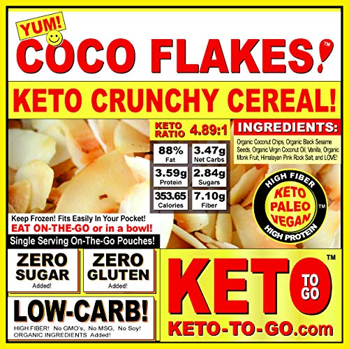 KETO VEGAN CEREAL - COCOFLAKES ON-THE-GO POUCH - LOW CARB GLUTEN FREE CEREAL with NO Sugars Added Diabetic Friendly Paleo HIGH PROTEIN HIGH FIBER Meal! 5 PACKETS per order