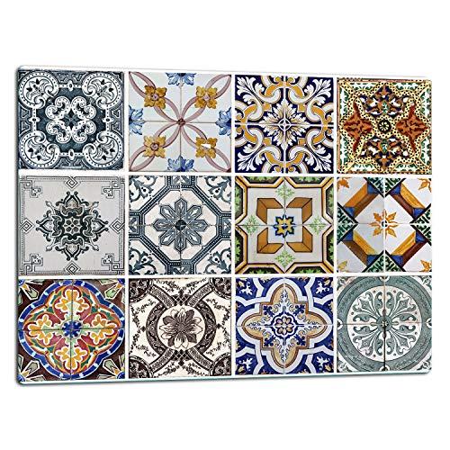 TMK | Glasschneidebrett, Herdabdeckplatte ceranfeld 1-telig 52x40, Glasschneideplatte, Spritzschutz, Universal Glasplate, Küche, Mosaik