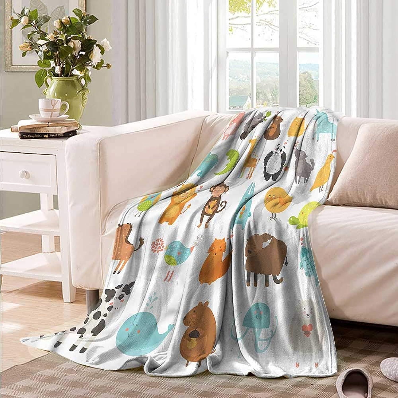 Oncegod Sofa Cushion Kids Cartoon Style Nursery Animals car Airplane Travel Throw 60  W x 51  L