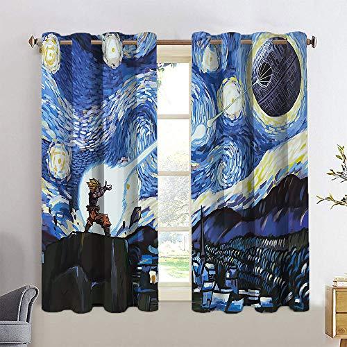 Tendencia Cielo estrellado Cortinas con ojales de Dragon Ball GOKU VS Estrella de la Muerte, forro de cortina opaco para cocina