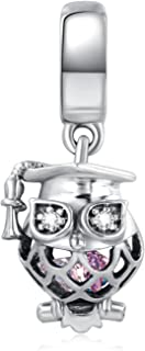 ANGELFLY 925 Sterling Silver Graduate Owl Charm with Cap Graduation Charms for Bracelets 2019 Graduation Gifts for Her