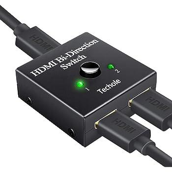 HDMI Switch, Techole Switch HDMI Bidirezionale 2 Ingressi 1 Uscita Supporta 1080p 3D 4K HDCP o Commutatore HDMI 1 Ingresso 2 Uscite Sdoppiatore HDMI per HDTV, Blu-Ray Player, DVD, DVR, Xbox, PS4
