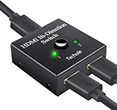 Switch HDMI, Techole Conmutador HDMI Switch Bidireccional 2 Entradas a 1 Salida o Switch 1 in a 2 out, Soporta 4K 3D 1080P, Divisor HDMI Conmutador Para HDTV / Blu-Ray Player / DVD / PS4 PS3 / Xbox