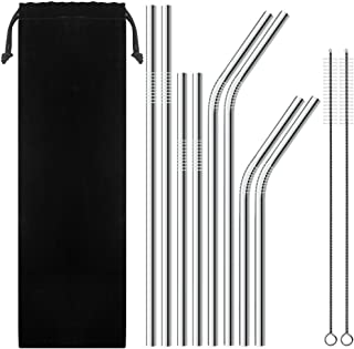 Aigemi Set of 8 Stainless Steel Straws Reusable Drinking Metal Straws for Tumblers Rumblers Cold Beverage (4 Straight|4 Bent|2 Brushes)