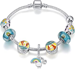 Qings Silver Plated Snake Chain Elegant Blue Murano glass Bead Rainbow Pendant Charm Bracelet Jewelry Gift for women Girls...