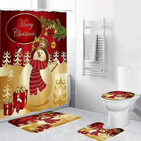 US Christmas Snowman Shower Curtain Bath Mat Pedestal Toilet Lid Seat Rug Cover