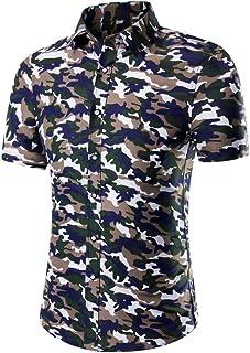 Men Shirt Short Sleeve Casual Business Fashion Print Shirt Hawaii Beach Shirt