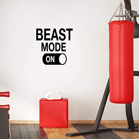"""Vinyl Wall Art Decal - Beast Mode - 22"""" x 22""""- Positive Fitness Healthy Lifestyle Quote Sticker for Gym Crossfit Fitness Yoga Ballet Office Work Decor"""