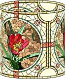LampPix 10.5 Inch Table Desk Lamp Shade Stained Glass Style Red Flower (Spider Fitting)