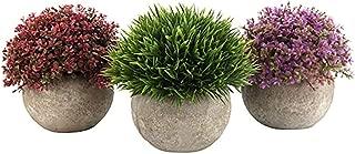 🍀Libobo🍀Set of 3 Artificial Green Grass Bonsai Art Plant with Gray Pot Arrangements Home Indoor Decor Flower
