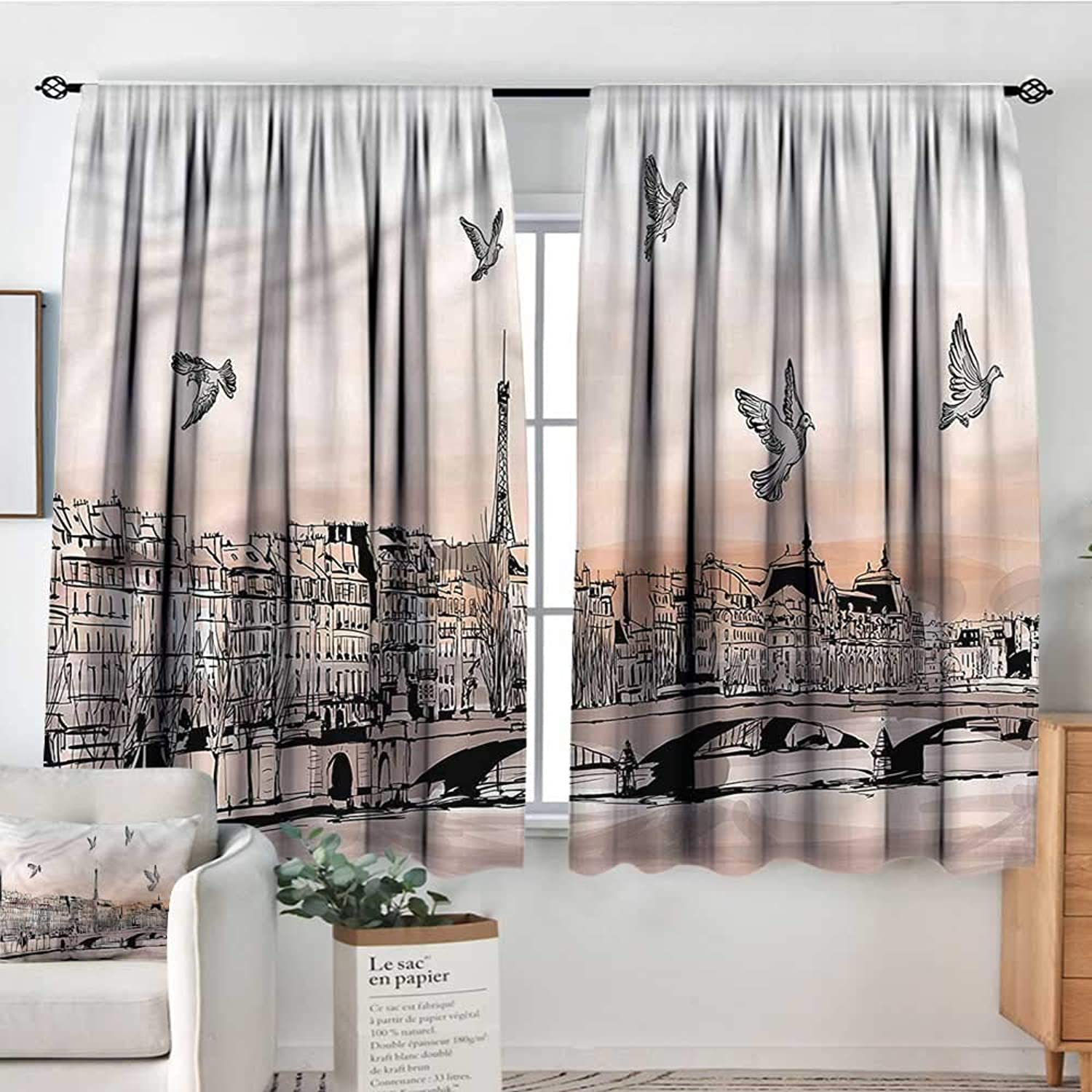 Sanring Landscape,Kids Decor Indo Curtain Drape Sketch of Eiffel Tower 42 X63  Print Decorative Curtains