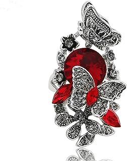 خواتم زهرة حجر الراين والفراشة من أجوجوجوجيوال للنساء مجوهرات كلاسيكية كلاسيكية