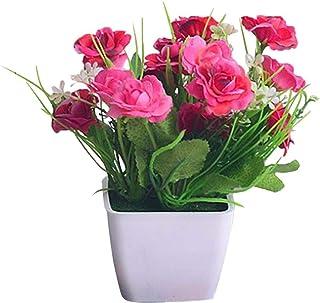 MissZZ Flores Artificiales de Rosas Bonsai Flores Artificiales Emulan Bonsai Plantas de Rosas Estante de Libros Decoració...