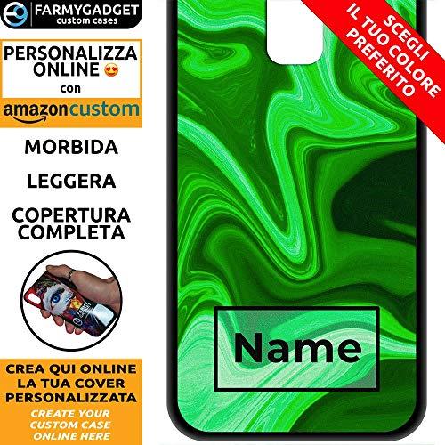 FarmyGadget Cover Case Custodia Morbida Soft TPU Personalizzata - Marble, Marmo, Astratto - Nome e Colore Personalizzabile per Samsung S9