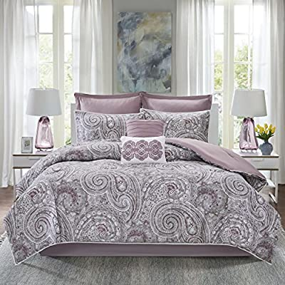 Comfort Spaces Kashmir 8 Piece Comforter Set Hypoallergenic Microfiber Lightweight All Season Paisley Print Bedding, Queen, Soft Plum