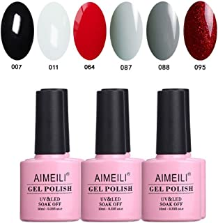 AIMEILI Soak Off UV LED Gel Nail Polish Black White Red Grey Multicolour/Mix Colour/Combo Colour Set Of 6pcs X 10ml - Kit 28