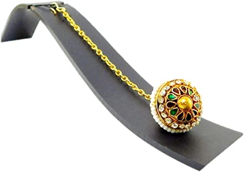 Hair Jewellery Stylish Multi Color Pearl Stone Maang Tikka For Women