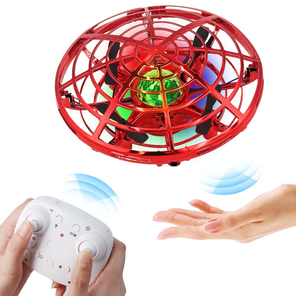 BIBIELF Flying Drone for Kids, Hands Drone Remote Control Flying Toys with Colorful LED Lights for Boys Girls - Red