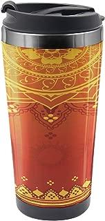 Ambesonne Leaf Travel Mug, Traditional Saree, Steel Thermal Cup, 16 oz, Marigold Orange