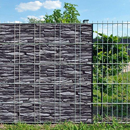 Bedruckter Sichtschutzstreifen für Doppelstabmatten Zaun auf Rolle inkl. 25 Klemmschienen (Schiefer)