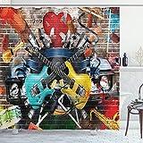 ABAKUHAUS Musik Duschvorhang, Collage-Instrument fröhlich, mit 12 Ringe Set Wasserdicht Stielvoll Modern Farbfest & Schimmel Resistent, 175x240 cm, Mehrfarbig