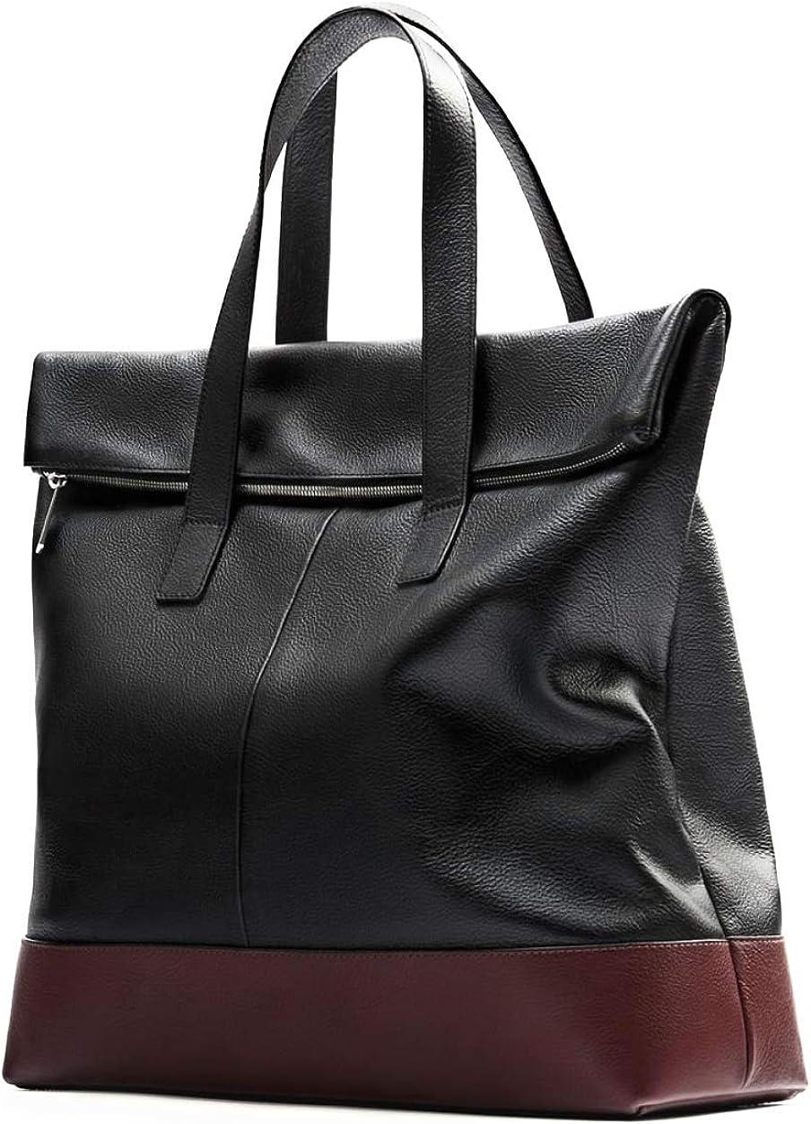 Zara Man Soft Leather Shopper Tote Bag Black