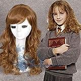 Parrucca per giochi di ruolo Hermione Granger di Halloween Magic Potter Women Emma Watson Herminone cosplay marrone lunghi capelli ondulati costumi Taglia unica marrone