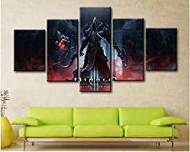 Junewind Canvas Painting 5 Panel Canvas Printed Game Poster Diablo 3 Reaper of Souls Home Decor for Living Room Wall Art Canvas Painting Pictures Artwork-Size