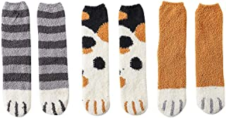 Women Fuzzy Fluffy Cozy Slipper Socks Winter Warm Plush Home Lovely Cat Claw Soft Sleep Floor Socks