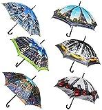 """1 Stück _ Regenschirm - """" Stadt / Architektur - Urlaube / Reise """" - ø 110 cm - Schirm - Stockschirm für - Damen - Frauen / Partnerschirm - Herren / Erwachsene - groß / sturmfest - einfarbige blaue - Regenschirme"""