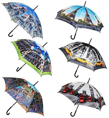alles-meine.de GmbH 1 Stück _ Regenschirm -  Stadt / Architektur - Urlaube / Reise  - ø 110 cm - Schirm - Stockschirm für - Damen - Frauen / Partnerschirm - Herren / Erwachsene..