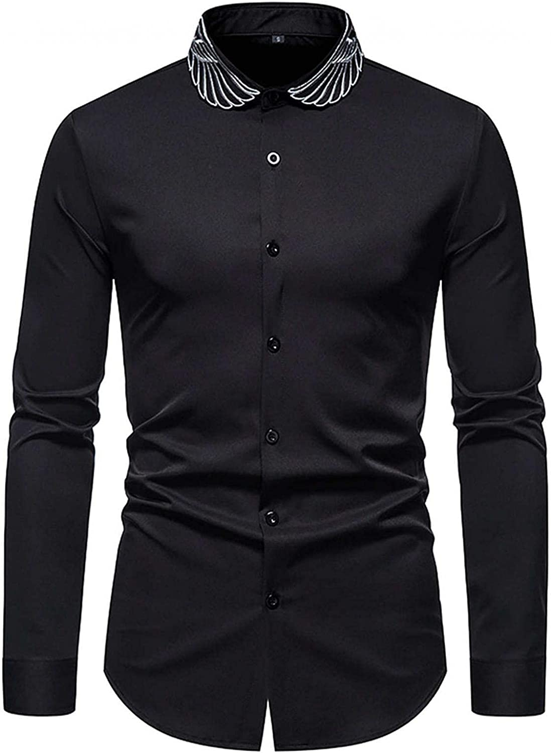 JSPOYOU Men's Long Sleeve Embroidered Shirt Casual Slim Fit Button Down Dress Shirts Big and Tall Western Cowboy Shirt