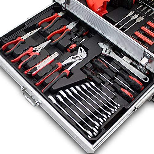 BITUXX® 206 tlg Werkzeugkiste komplett Werkzeugkoffer bestückt Werkzeugkasten gefüllt Schubladen inklusive Akkuschrauber Ratschenringschlüssel Ratschenkasten Knarrenkasten Steckschlüssel Nüsse - 9