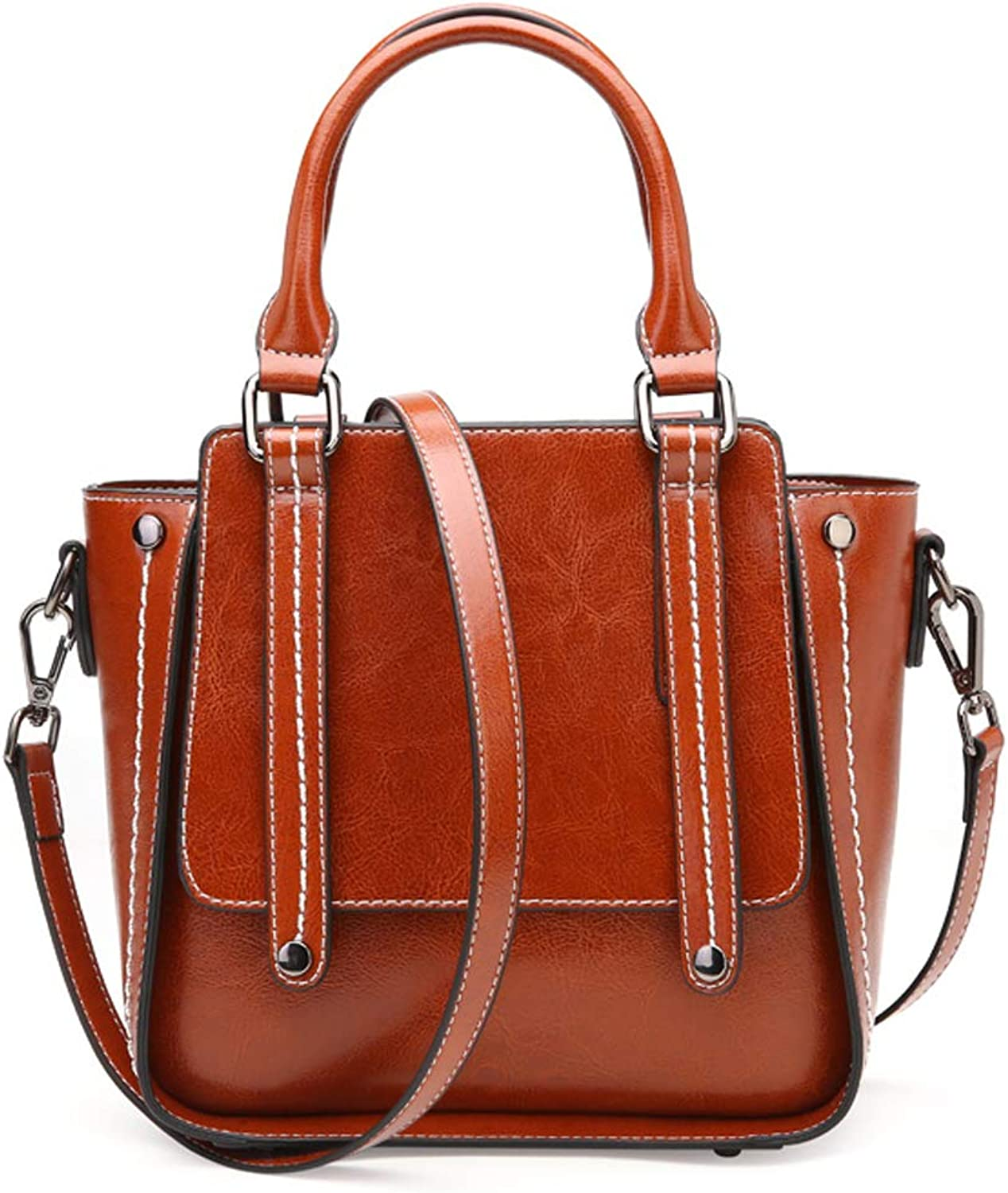 Genuine Leather Crossbody Shoulder Bag Medium Small Tote Satchel Handbag with Strap for Women (Brown)