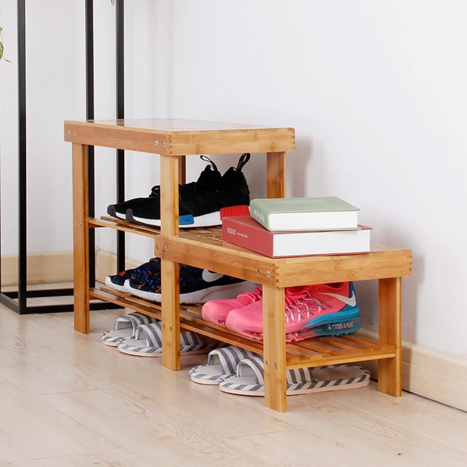 shoes Bench Organizing Rack Bamboo for The Stool Solid Wood high and Low wear shoes Small Stool Simple shoes Cover shoes Rack Multi-Storey Storage Footstool