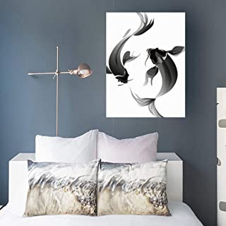 Aika Designs Canvas Prints Wall Art Fin Ink Koi China Carp Chinese Nature 16 x 16 Inches Modern Painting Decor Stretched Wooden Framed Wrapped Artwork