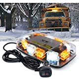 [Upgraded]Lumenix Rooftop Strobe Light 12' Emergency Hazard Warning Safety LED Mini Strobe Light Bar Waterproof and Magnetic Base Beacon Light for Truck Construction Vehicle Snow Plow Car(Amber/White)