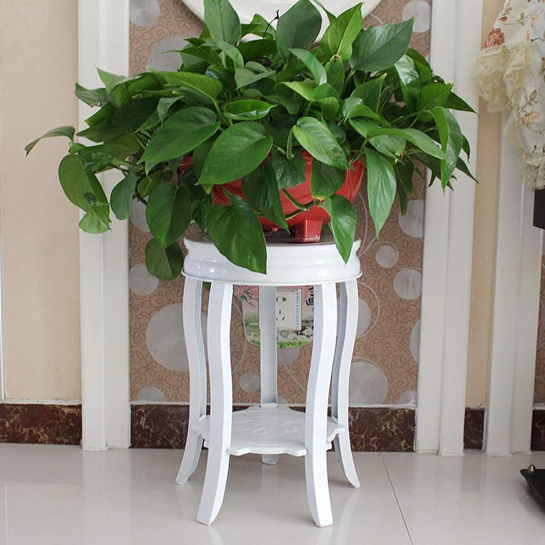 Flower racks - Metal Flower Stand Floor Living Room Potted Shelf European White Plant Display Rack Stool 35×47 80cm (Size   35  47cm)